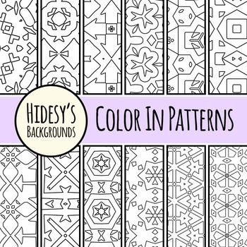 Color In Patterns / Designs Clip Art / Digital Papers Set for Commercial Use