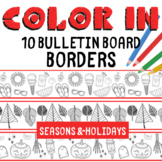 10 Color In Printable Bulletin Board Borders - Seasons and Holidays