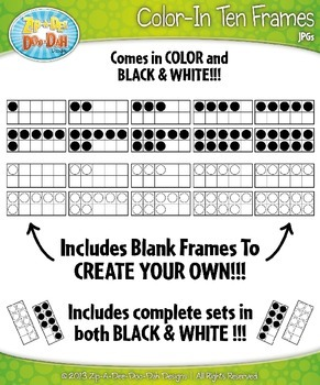 Color-In Ten Frames Math Clipart {Zip-A-Dee-Doo-Dah Designs}