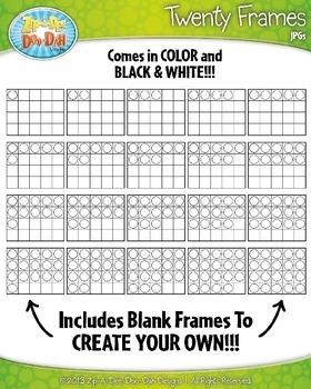 Color-In Twenty Frames Math Clipart {Zip-A-Dee-Doo-Dah Designs}
