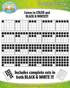Color-In Twenty Frames Math Clip Art Set — Over 40 Graphics!