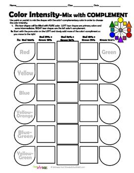 Color Intensity Lesson Plan + 3  Worksheets PACKET
