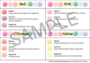 Color Journal / Color chart / Color therapy / Color meaning / Coloring