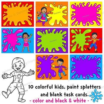 Color Kids Clip Art | Holi Festival Clip Art