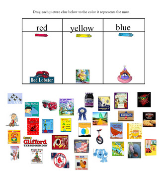 Color Match Red Yellow Blue Environmental Picture Clues