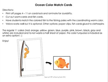 Color Matching Activity - Ocean
