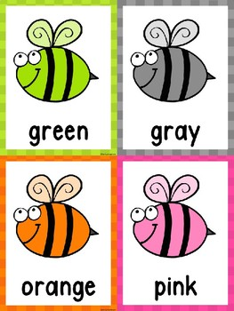 Color Matching Cards -Bees