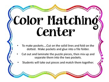 Color Matching / Center / Lapbook