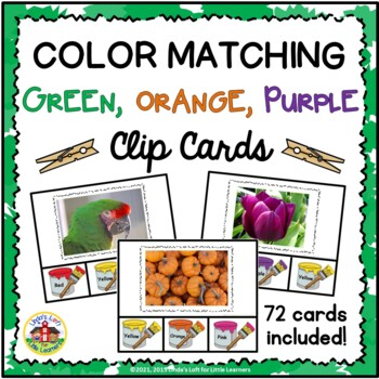 Color Matching Clip Cards: Green, Orange, Purple