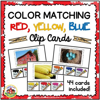 Color Matching Clip Cards: Red, Yellow, Blue