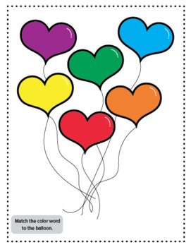 Color Matching, Color Sight Words with balloon hearts: file folder game