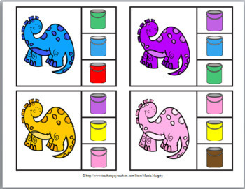 Color Matching & Color Words Clip Cards – Dinosaur Literacy