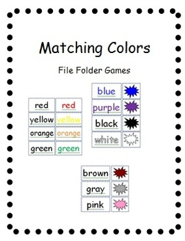 Color Matching File Folder Games