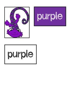 Color Matching File Folder - Glitter Lizards