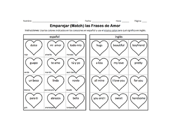 Color Matching Hearts in Spanish and English