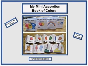 Color Match Mini Accordion Books Cut & Paste Fine Motor Activities Special Ed.