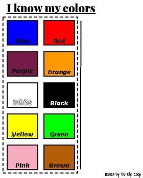 Matching Colors Packet  Includes Flash Cards  Task Bin  File Folder