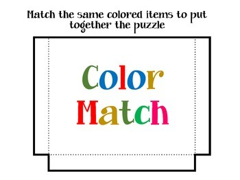 Color Matching Puzzle / Game / Center / Lapbook