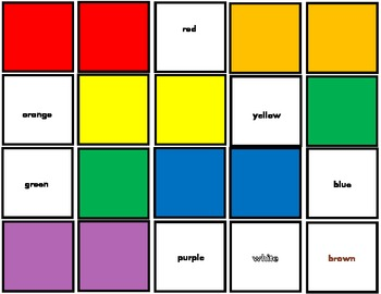 Color Matching Squares and Color Words for Autism