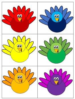 Color Matching Turkeys File Folder