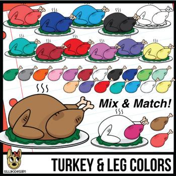 Color Matching: Turkeys and Leg Clip Art