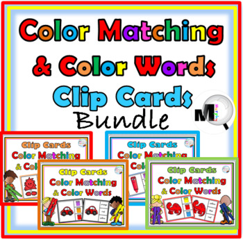 Color Matching and Color Words Clip Cards – Bundle