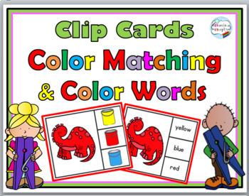 Color Matching Clip Cards & Color Words Clip Cards  Bundle