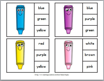 Color Matching Clip Cards and Color Words Clip Cards – Crayon Theme