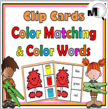 Color Matching and Color Words Clip Cards – Monster Theme