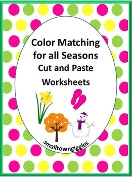 Color Matching, Cut and Paste Activities, Early Childhood, Special Education