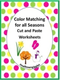 Color Matching, Cut and Paste Activities, Special Education and Autism Resources
