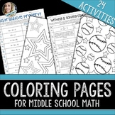 Middle School Math Coloring Pages Bundle