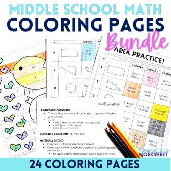 Middle School Math Coloring Pages Bundle
