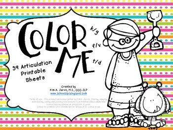 Color Me Articulation: Speech Sound Coloring Sheets