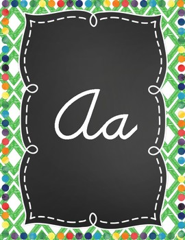 Color Me Bright Cursive Alphabet Posters