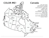 Color Me Canadian Provinces and Territories