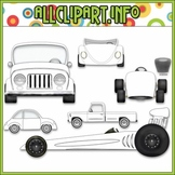$1.00 BARGAIN BIN - Color Me Cars Clip Art / Line Art