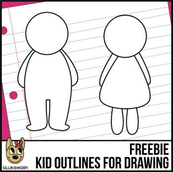 Color Me! boy and Girl Kid Outline Clip Art