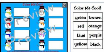 Color Me Cool! Snowman themed Color Word Games