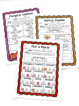 November Reading & Math No Prep Coloring Printables