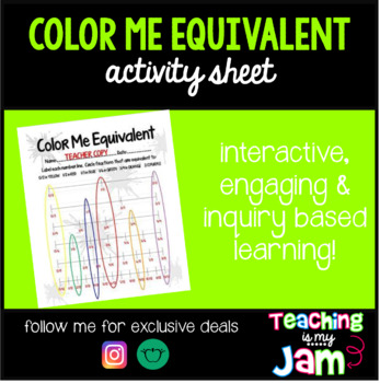 Color Me Equivalent-Fractions on Number Line Activity