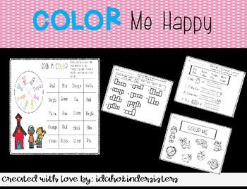 Color Me Happy-Sight words (color words) activity Bundle!