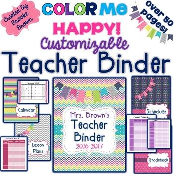 editable teacher binder 20172018 color me happy tpt