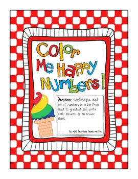Color Me Happy Number Order Freebie