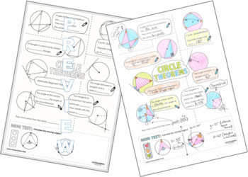 Color Me In Sheets or Doodle Notes - Circle Theorems