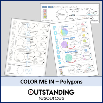Color Me In Sheets or Doodle Notes - Polygons (Interior and Exterior angles)