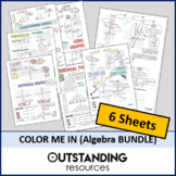 Color Me In or Doodle Sheets - Algebra and Graphing BUNDLE