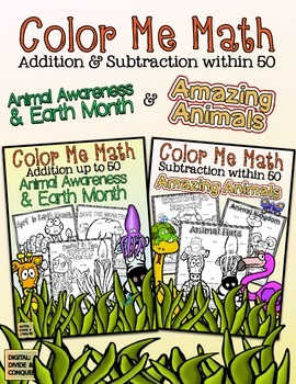 Color Me Math!  Add & Subtract within 50 Animal Life!