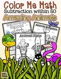 Color Me Math!  Subtraction within 50.  Amazing Animals