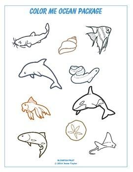 Color Me Ocean Package 1 - Line Art